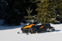 Snowmobile in winter mountain Stock Image