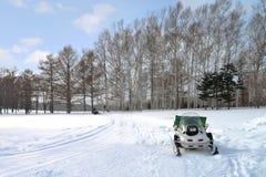 Snowmobile. A snowmobile in winter season at Hokkaido, Japan Royalty Free Stock Photo