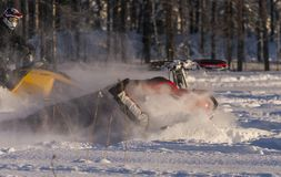 Snowmobile wypadek obrazy royalty free
