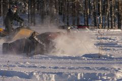 Snowmobile wypadek fotografia royalty free