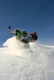 Snowmobiler en el paso de Jones, CO Fotos de archivo