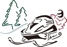 Snowmobiler Pine Trees Stock Images