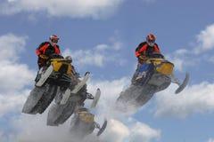 Snowmobilers aerotransportados Imagen de archivo libre de regalías