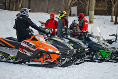 Snowmobiles in the competition winter sprint 2014 Stock Photo