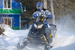 Snowmobiles in the competition winter sprint 2014 Royalty Free Stock Images