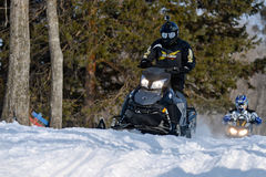 Snowmobiles in the competition winter sprint 2014 Royalty Free Stock Photos