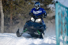 Snowmobiles in the competition winter sprint 2014 Royalty Free Stock Photography