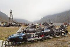 Free Snowmobiles In Longyearbyen, Svalbard Stock Photo - 59310470