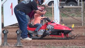Snowmobiles, Sleds, Youth Sports stock video footage