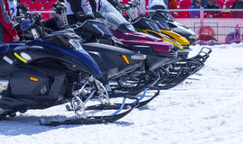 Snowmobiles at the start of the competition Royalty Free Stock Photography