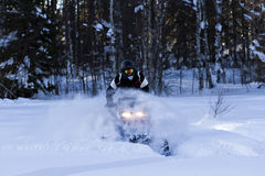 Snowmobiling in deep powder in the  forrest Stock Images