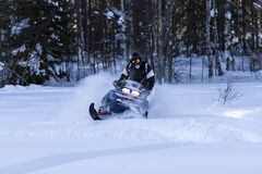 Snowmobiling no pó profundo Imagem de Stock