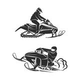 Snowmobiling Silhouette on background Royalty Free Stock Image