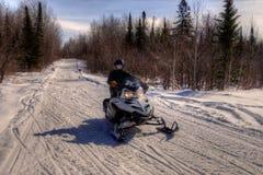 Snowmobiling till och med träna av nordliga Minnesota i vinter royaltyfri foto