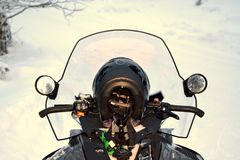 Snowmobiling in a winter wonderland Royalty Free Stock Photos