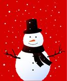 Cute snowman with a hat and a scarf on the red background royalty free stock photography