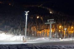 Snowpark en estación de esquí Imagen de archivo libre de regalías
