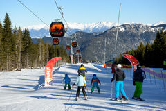 The snowpark, skiers and cableway in Jasna Low Tatras Stock Images