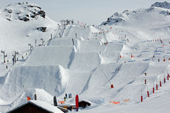 Snowpark (stock). Val Thorens snow park and border cross area Stock Photo