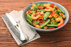 Snowpeas and shrimps salad Stock Image