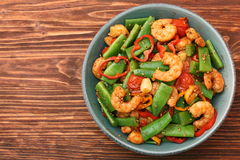 Snowpeas and shrimps salad Royalty Free Stock Photo