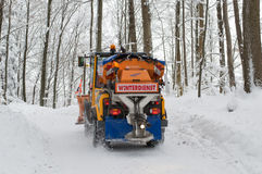 Snowplough πίσω άποψη Στοκ φωτογραφίες με δικαίωμα ελεύθερης χρήσης