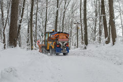 Snowplough back view Royalty Free Stock Photos