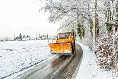 Snowplough en servicio activo Imagen de archivo