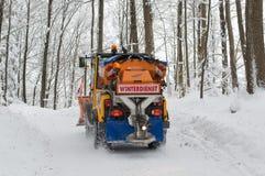 Snowplough tylny widok Zdjęcia Royalty Free