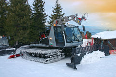 Snowplow. Is ready to prepare the ski runs for the next day on Borovetz, Bulgaria Royalty Free Stock Image