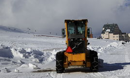 Snowplow. Cleans snow on the road Stock Photo