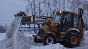 Snowplow Cleans The Road stock video