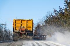 Snowplow Clearing Road Stock Image