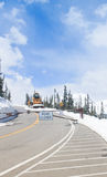 Snowplow closed mountain road Royalty Free Stock Photography