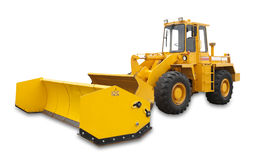 Snowplow excavator, isolated. Snow removal vehicle used during blizzards, isolated with shadow and clipping path Royalty Free Stock Images