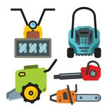 Vector Set of Garden equipment Icons. Flat style colorful Cartoon illustration. Snowplow, Lawn mower, chainsaw, cultivator, vacuum cleaner Isolated on a white vector illustration