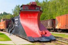 Snowplow locomotivo histórico no museu railway do revelstoke Imagens de Stock