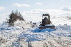 Snowplow no trabalho Fotografia de Stock