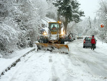 Snowplow open road Royalty Free Stock Images