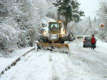 Snowplow otwarta droga Obrazy Royalty Free