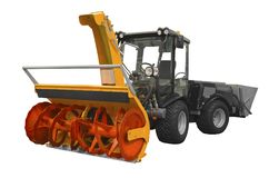 Snowplow. Powerful snowplow isolated on a white background Royalty Free Stock Image