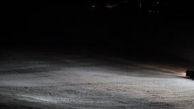 Snowplow preparing a ski slope stock video