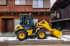 Snowplow at Shirakawa village in Japan Royalty Free Stock Photography