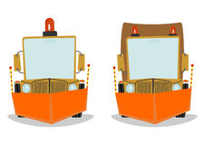 Snowplow. Snowplough. Cartoon vector illustration without gradients on one layer royalty free illustration
