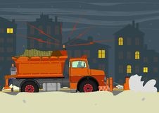 Snowplow. Snowplough during operation. Vector illustration without gradients on one layer royalty free illustration