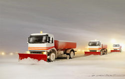 Snowplow Trucks Removing The Snow Stock Image