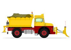 Snowplow. Vintage snowplow. Vector illustration without gradients on one layer Stock Image