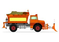 Snowplow. Vintage snowplow. Vector illustration without gradients on one layer vector illustration