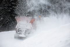 snowplow in winter snow storm Stock Photo