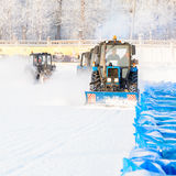Snowplows restores ice cover. Special technique restores the ice for racing Stock Images